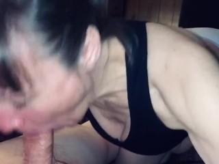 Sucking off our friend again. Have to get my daily protein. Showing off his cum before I swallow.