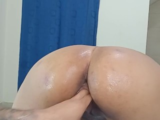 destroying my wet pussy with the huge hand of my husband
