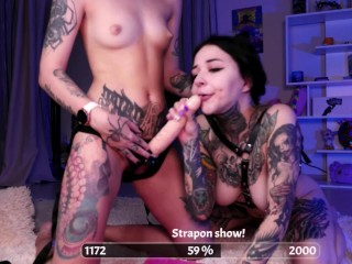 Giant strapon dildo ASS LICKING Beautiful lesbians