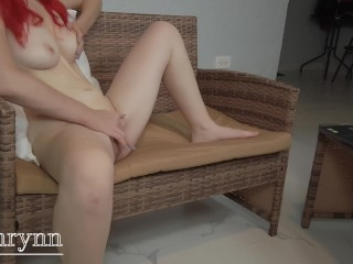 Redhead amateur squirt while watching porn