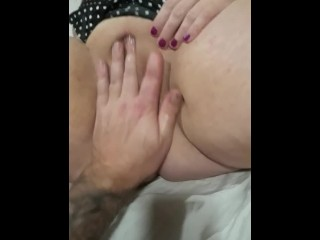 Real wife with dripping wet bald pussy being fingered. Clit rubbed. Female orgasm!