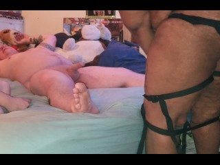 Interracial bbw threesome with strap on