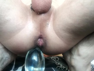 AMAZING ANAL JUICE AFTER INSERTION HUGE GLASS BUTT PLUG