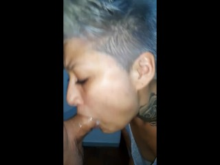 short haired girl, sucking until happy ending
