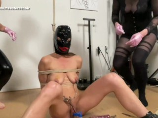 DESTRUCTION OF THE PUSSY!! She get's used by 2 domina's (FFF) (Dutch spoken, full movie on MH)