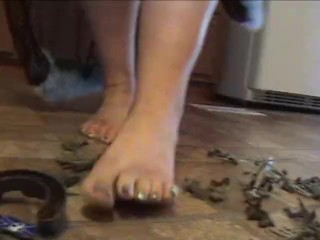 BBW Role Play Size 11 Feet Stepping on Tiny Toy Army Men Foot View - Not HD