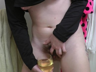peeing into a wine glass hairy pussy