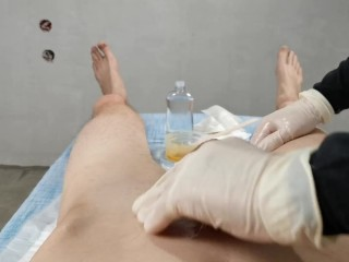 Handjob after Brazilian waxing - Dick wax depilation masturbate