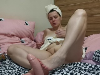ASMR, stepmom cums on you from footjob, squirts