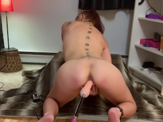 My fuck machine fuck my feet and my pussy and I cum intently