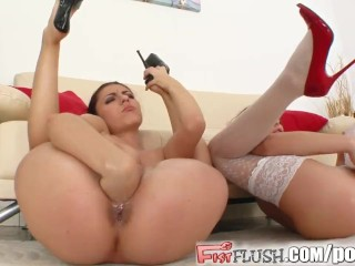 Fist Flush Pussies licked and fisted by two hot chicks