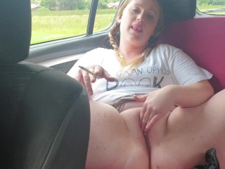 Chubby pigtailed blonde public car finger and smoking masturbation