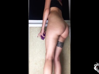 Girl Sensual Masturbate Pussy Dildo and Leans Out of the Window