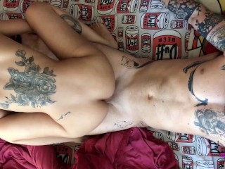 Top view fucking this hot tattooed girl