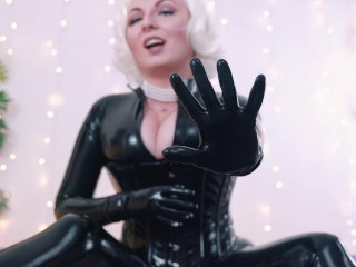 Black latex rubber catsuit and gloves fetish 4k relax video close up