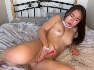 Sexy petite asian girl in maid outfit oil show strip tease dance and solo play masturbate for you