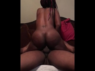 Girlfriend riding boyfriend BBC on the couch
