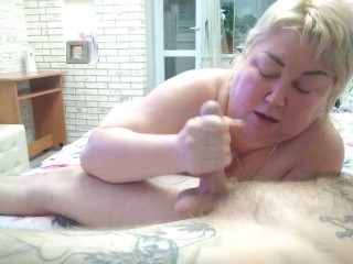 mature mother-in-law again sucks my cock and brings it to cum