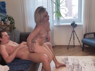 Sexy short haired blonde passionately sucks and fucks big cock