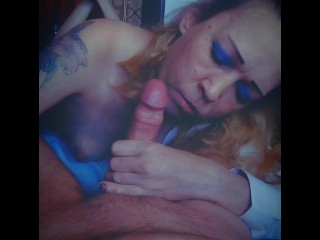 POV while husband is at work suck lover's cock, mouth full of cum