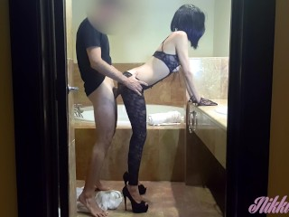 Cutest brunette in fishnet lingerie and high heels fucked until nice facial