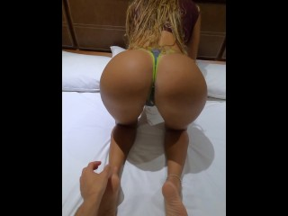 Milf performs Sexy dance for the reception guy of the resort before I let him touch my big booty