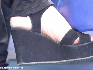 Mature candid feet and shoes wedgie and sandals heels, foot fetish