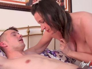 AgedLovE Busty Cougar and Youngster Pussy Eating