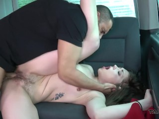 Pierced babe found on bus stop spread her hairy pussy for dude in van