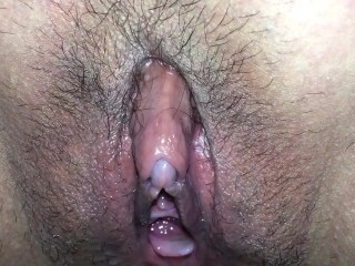 Hairy pussy dripping wet and peeing
