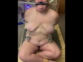 Teen BBW Tied Up and Gagged with Weighted Nipple Clamps