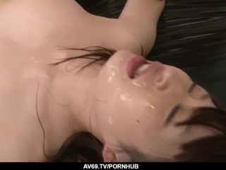 Riko Oshima anal fucked by a group of men