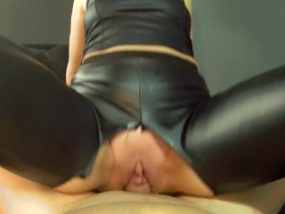 Blonde in Ripped Latex Leggings Gets Fucked and Takes a Huge Cumshot on Her Latex Top