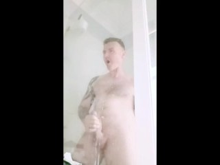 Intense prostate orgasm while high in the shower