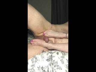 Mistress Gives Her Sub A Foot Job Winds Up With Cum Covered Feet