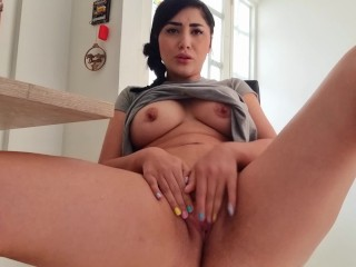 Martina was almost caught by her grandmother squirting for a custom video