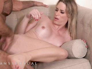 Transsensual - Blonde tranny gets fucked by hairy hunk