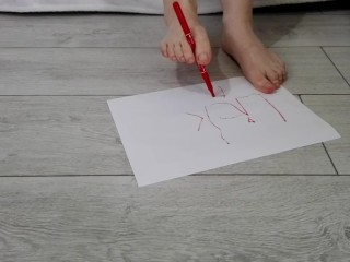 Trying to write with my feet orders to you on a white paper Front view