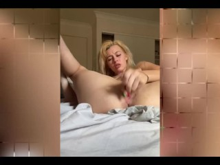 Blonde Girl Inserting Small Dildo on Pussy - Snapchat