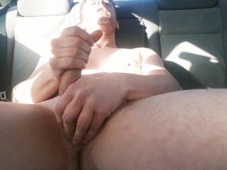 Straight Aussie Guy Moans and Cums in Public Carpark