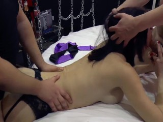 Hot slave wife in threesome