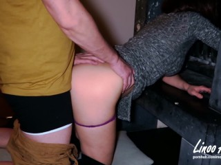 Stepmom stuck in fireplace is fucked by stepson in pussy and ass (creampie)