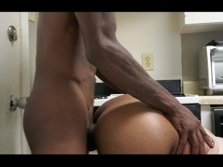 Big Booty Ebony Gets Cum Inside Her While She Trying To Clean Kitchen