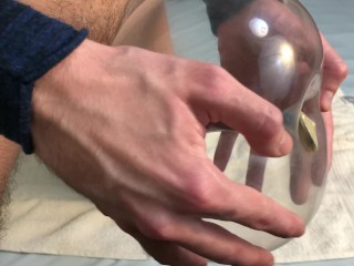 Condom Balloon Sex Toy Tutorial - Guy Moaning Loud While Cumming 4K