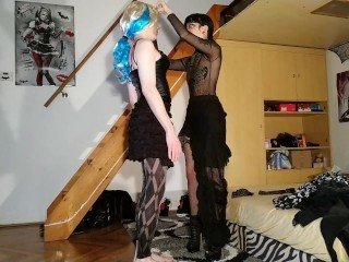 Goth domina feminize her tv cd sissy slave with woman clothes pt2 HD