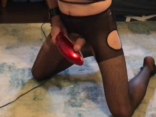 Anal hooked handcuffed slave has ten minutes to make himself orgasm