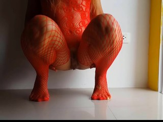 Red Photo Session with red Butt Plug