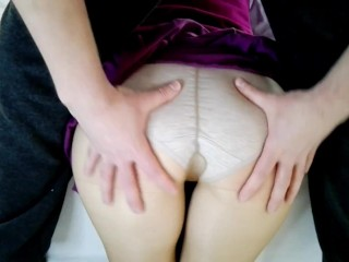 Spanking for Cute Ass wearing a purple skirt and pantyhose. Naughty Teen schoolgirl