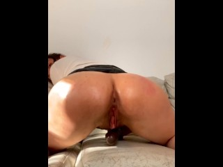 Deep BBC Dildo ride in leather Skirt in Ass Bouncing