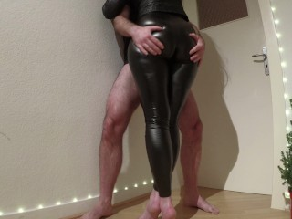 hot stepsis in leather leggings lets me rub my dick between her thighs - cum on hot ass